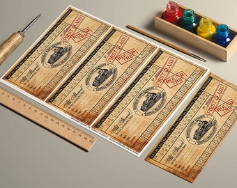 INSTANT DOWNLOAD Printable Vintage Train Ticket Birthday Invitation