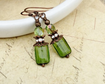 Green Earrings, Olive Green Earrings, Copper Earrings, Czech Glass Beads, Unique Earrings, Copper Jewelry, Gifts for Her, Womens Earrings
