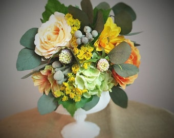 Sunflower and rose keepsake wedding bouquet, bridesmaid bouquet, wedding bouquet, silk bouquet, flower bouquet