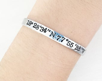 Custom Coordinates, Gift For Travelers, Coordinates Bracelet, Lat Long Bracelet, Latitude Jewelry, Custom Stamped Bracelet