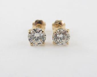 14k Yellow Gold Diamond Stud Earrings - Genuine Brilliant Diamond Earrings 1.15 carats