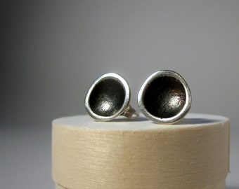 silver stud earrings organic tidal pool sterling with patina sustainable source