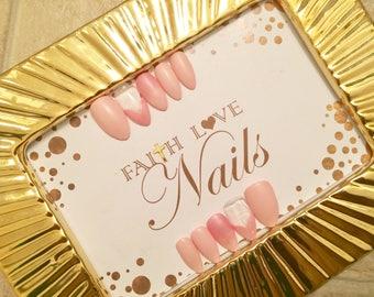 Pink Heart Press On Nails | Fake Nails | False Nails | Reusable Nails | Hand Painted Nail Art | Press On Stiletto Nails