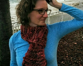 Cranberry Fluff Knitted Scarf