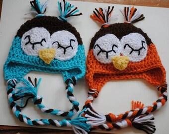 Newborn Twin Owl Hats/ Crochet Owl Hat/ Newborn Owl Hat/ Sleepy Owl Hat/ Baby Boy Prop/ Baby Boy Hat
