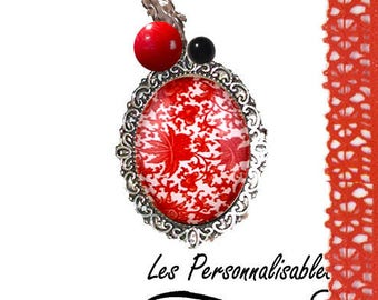 metal and red flower glass pendant necklace