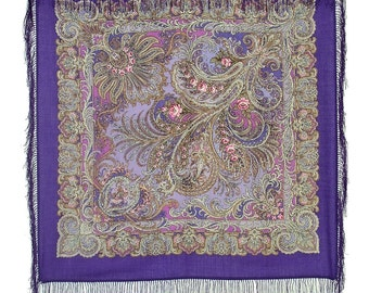 "Beautiful 35x35""' Russian wool shawl (68115) with silk fringes"