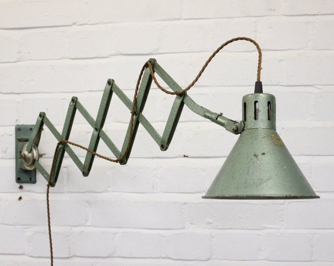 Wall Mounted Industrial Scissor Lamp Circa 1960's