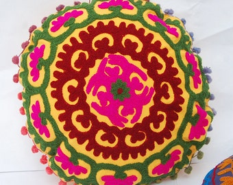 Indian Round Cushion Covers Suzani Work Embroidered Cotton Ethnic Cushion cover 01