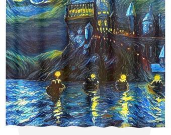Starry Night Boats Castle, Starry Night Boats Fabric Shower Curtain, Starry Night Boats Art, Starry Night Print, Starry Night Gift