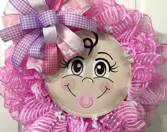 Baby Girl Wreath - Baby Wreath - Pink Wreath - Baby Girl Nursery - Baby Decor - Nursery Decor- Baby Shower Decor -  Baby Shower Gift