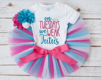 Tutu tuesday outfit 'Photo Punks' pink and turquoise tutu outfit, girls outfit, baby girls clothing, baby girls tutu, girls tutu, tutu set