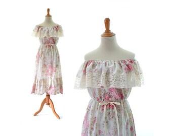 1970s Dress, Boho Dress, 70s Dress, Off the Shoulder Dress, Hippie Dress, Vintage Dress, Vintage Clothing Floral Print Dress Gunne Sax Style