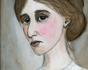 Virginia Woolf, Literary Portrait, Art Print, Writers Illustration (6x8) Watercolor Painting, A Room of One's Own Writer