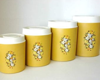 Vintage Yellow Kitchen Canister Set