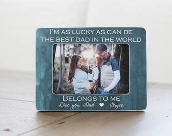 Personalized Gift for Dad | Father's Day Gift from Kids | Picture Frame | Gift for Husband | Fathers Day GIFT I'm As Lucky As Can Be