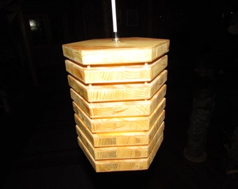 Hanging lamp made of wood - hexagon - wood lamp - ceiling lamp