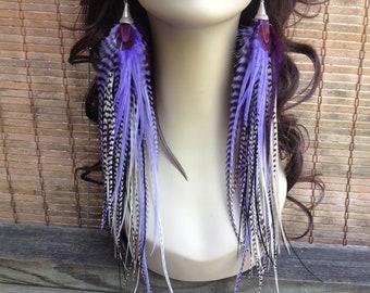 Long Purple Feather Earrings - Purple Rain - Full Feather Earings Statement Feather Jewelry