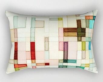 Watercolor Pillow, Pastel Throw Pillow, Abstract Art Pillow, Lumbar Pillow, Abstract Pillow, Art Pillow, Pink Pillow, Sofa Pillow