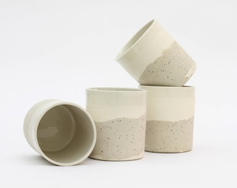 Ceramic beaker. Speckled pottery. Modern ceramics. Beaker Cup. White ceramics. Contemporary. Ceramic mug. Plant pot. Minimalist ceramics.