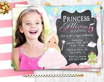 Fairy Tale birthday invitation Photo card Fairy Tale party invite Pink Princess birthday party