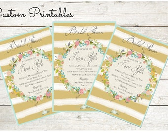 Printable Custom Invitation, Baby Shower, Bridal Shower, Birthday, Invitation, Gold stripe wreath