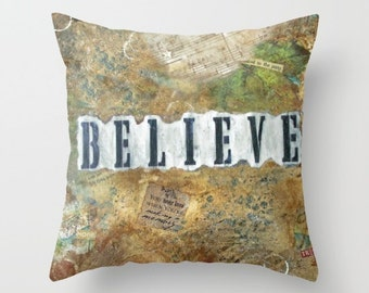 BELIEVE, Dream, Achieve, Inspire, throw pillow, ART PILLOW, home decor, mixed media, collage, art, mixed media artist, Alicia J Hayes