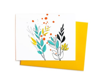 Wild Flowers in Yellow, Aqua and Persimmon, Boho Blank Thank You Note Card