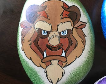 Disney Beauty and the Beast painted rock, paperweight, petrock, rock paintings, Beast