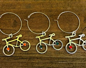 Set of 5 silver bicycle cyclist wine glass charms adorned with swarovski crystals