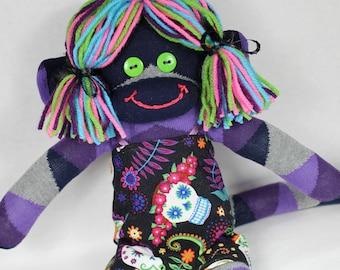 Sock Monkey / Day of the Dead Dress / Argyle / Colorful / Unique Gift / Nursery Decor / Sugar Skull / Skull / Calavera / Dia De Los Muertos