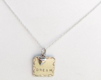 SALE Sterling Silver Dream Pendant with Dangling Heart Charm on Sterling Chain Necklace - 2852J
