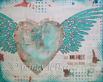 heart knows no bounds - 8 x 10 ORIGINAL MIXED MEDIA by Nancy Lefko