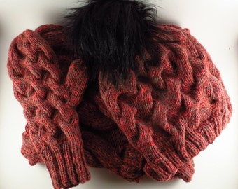 Chunky knitted Hat, Cowl and Mittens, sold separate or as a set.