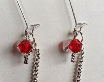 Candy Cane beaded earrings
