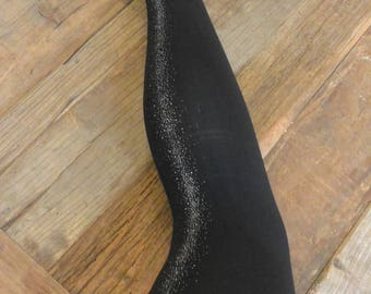 Glitter Tights Women's Metallic Gravel Sparkle Tights Black Opague at front look Gift for Her