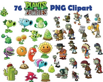 Instand DL -76x Plants VS Zombies clipart - printable Digital Clipart Graphic Instant Download