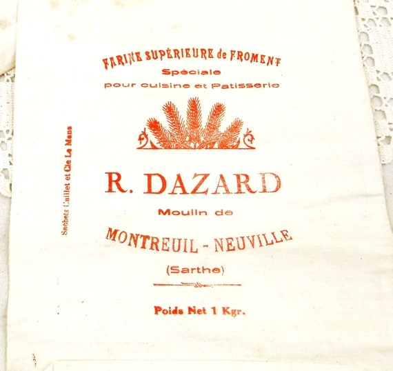 Antique Unused French White Cotton Fabric 1 kg Flour Sack with Red Lettering from Sarthe in Western France, Grain Sack, French Fabric Bag