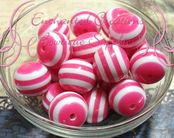 20mm Rose Pink and White Striped Beads Qty 10