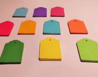 Colored Hand Punched Tags, Rainbow Tags, Wedding, Shower Favor Tags, Gift Tag, Thank You, Price Tags, Scrapbooking, Variety Set of 50