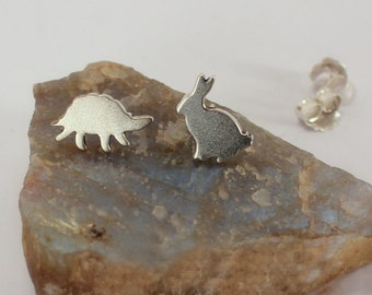 Tortoise and Hare Stud Earrings, Sterling Silver, Made to Order