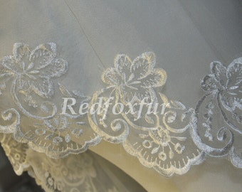 Single Bridal Veil - 1.5cm lace veil - Alencon lace veil - bridal wedding accessories - white ivory