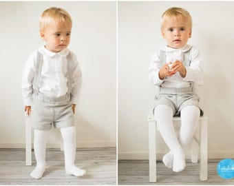 Grey Ring Bearer Outfit Baby Boy Christening Suit toddler boy baptism outfit suspender shorts long sleeved shirt with peter pan collar