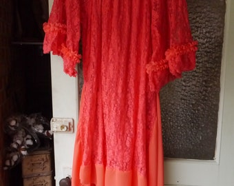 Dainty Feminine Lace Coral Dress Duster L/XL