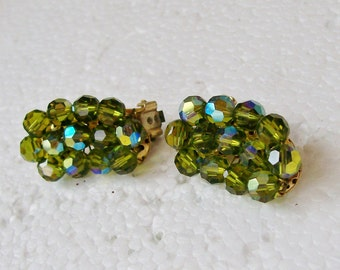Moss Green AUTRIAN CRYSTAL EARRINGS Clip on  Curved Cluster Vintage Mid Century