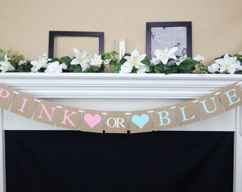gender reveal banner, baby shower decoration, Pink or Blue Baby Shower Banner, boy or girl banner, gender reveal party, he or she banner