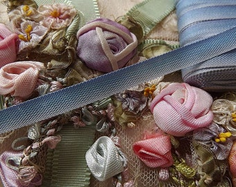"""Antique Vintage French Blue Ombre RIBBON Trim ~ BTY ~ 1/4"""" wide"""