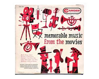 "Jim Flora record album design, 1956. ""Memorable Music from the Movies"" LP (magenta colorway)"