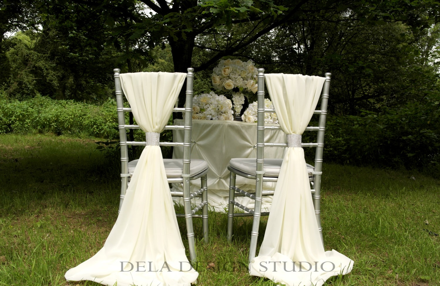 12 x Wedding Chiffon Chair Sash ~ White/Ivory/Cream - Wedding Chair Decor - Chiavari Chair Cover Sash  Chiffon crepe is a beautiful soft material with a subtle