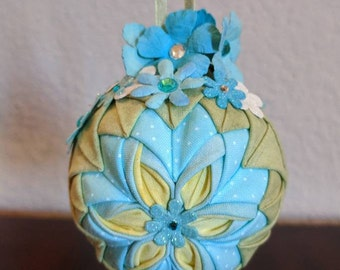 Blue Blossom Quilted Ornament